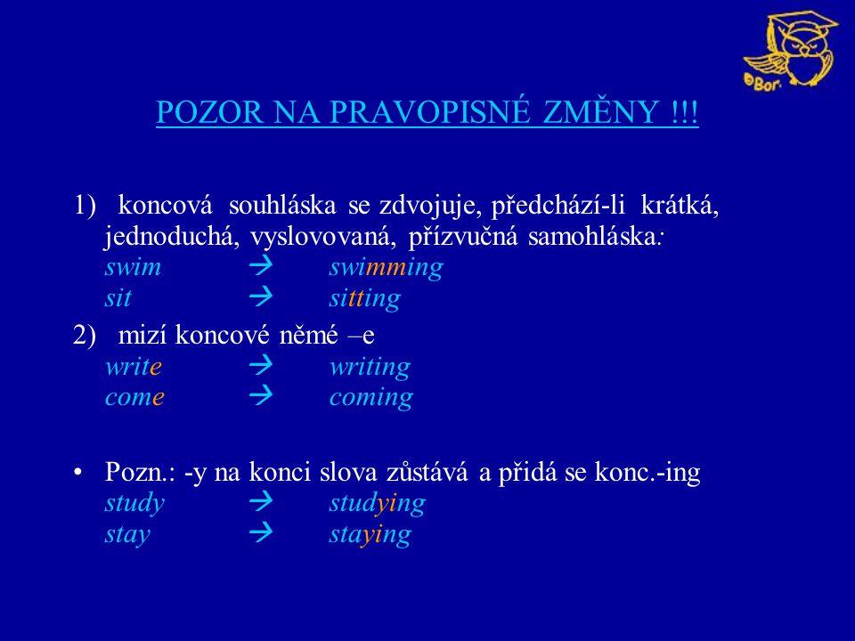 -ING FORMA SLOVESA MŮŽE BÝT: A) podstatným jménem slovesného původu: Swimming is healthy.