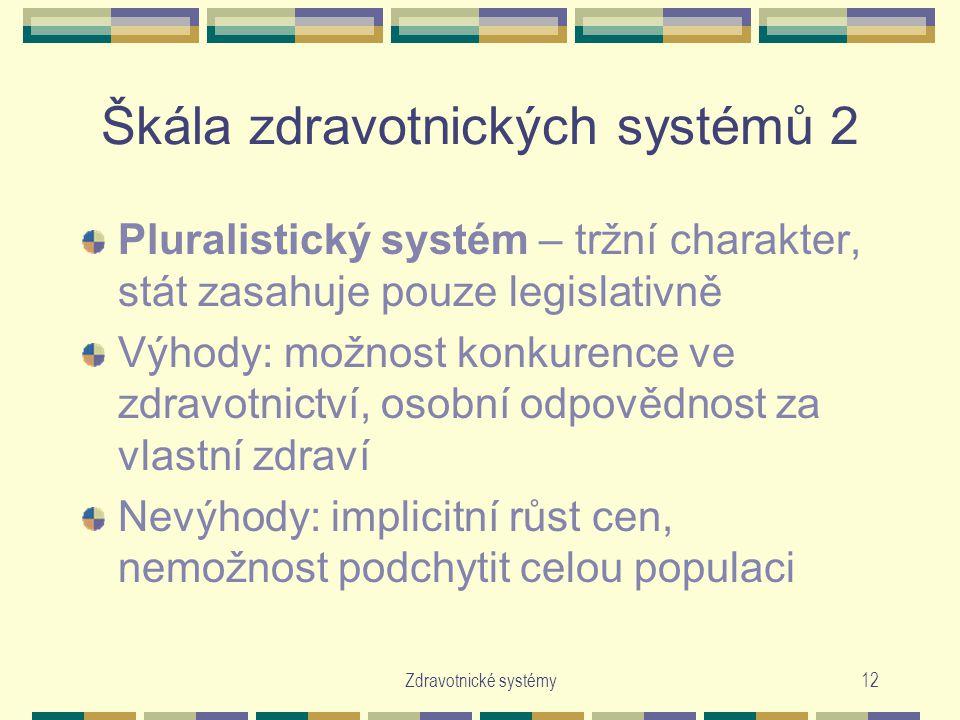 Zdravotnické systémy12 Škála zdravotnických systémů 2 Pluralistický systém – tržní charakter, stát zasahuje pouze legislativně Výhody: možnost konkurence ve zdravotnictví, osobní odpovědnost za vlastní zdraví Nevýhody: implicitní růst cen, nemožnost podchytit celou populaci