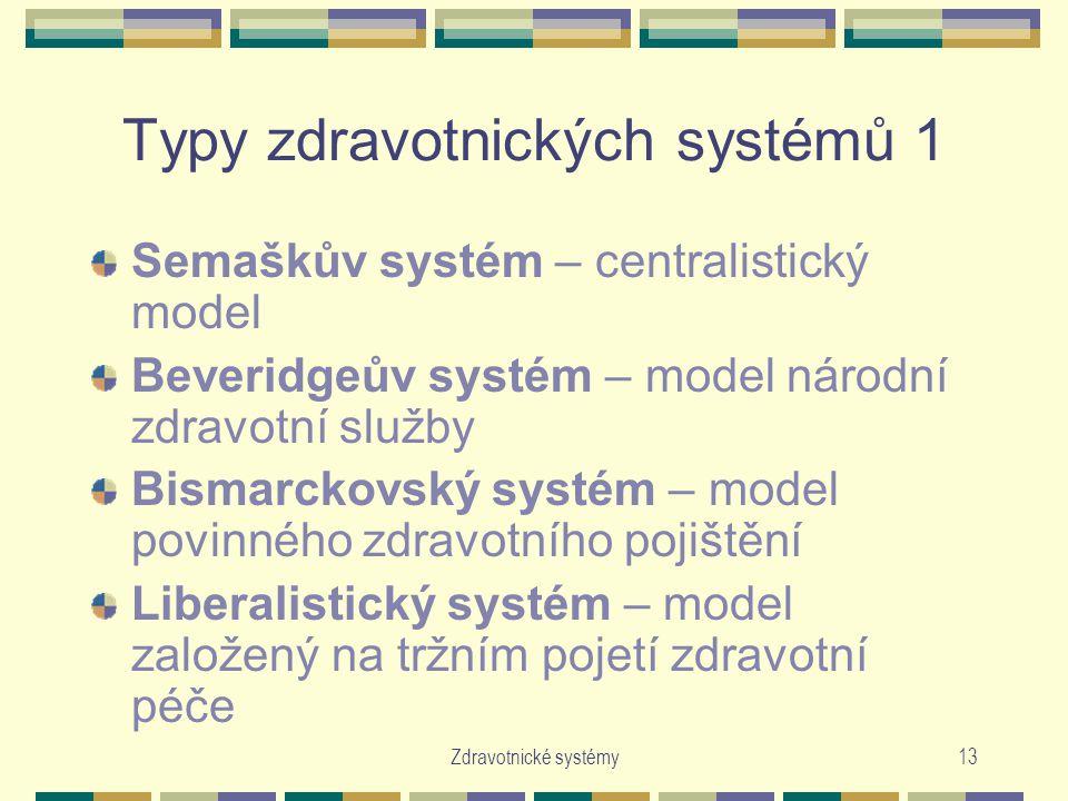 Zdravotnické systémy13 Typy zdravotnických systémů 1 Semaškův systém – centralistický model Beveridgeův systém – model národní zdravotní služby Bismarckovský systém – model povinného zdravotního pojištění Liberalistický systém – model založený na tržním pojetí zdravotní péče