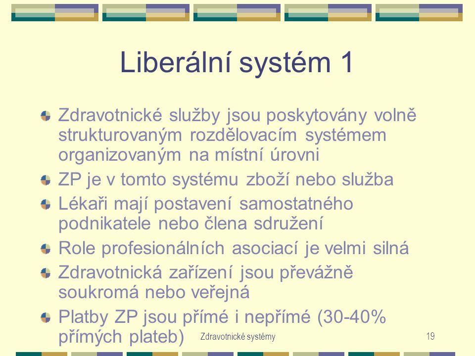Zdravotnické systémy19 Liberální systém 1 Zdravotnické služby jsou poskytovány volně strukturovaným rozdělovacím systémem organizovaným na místní úrov