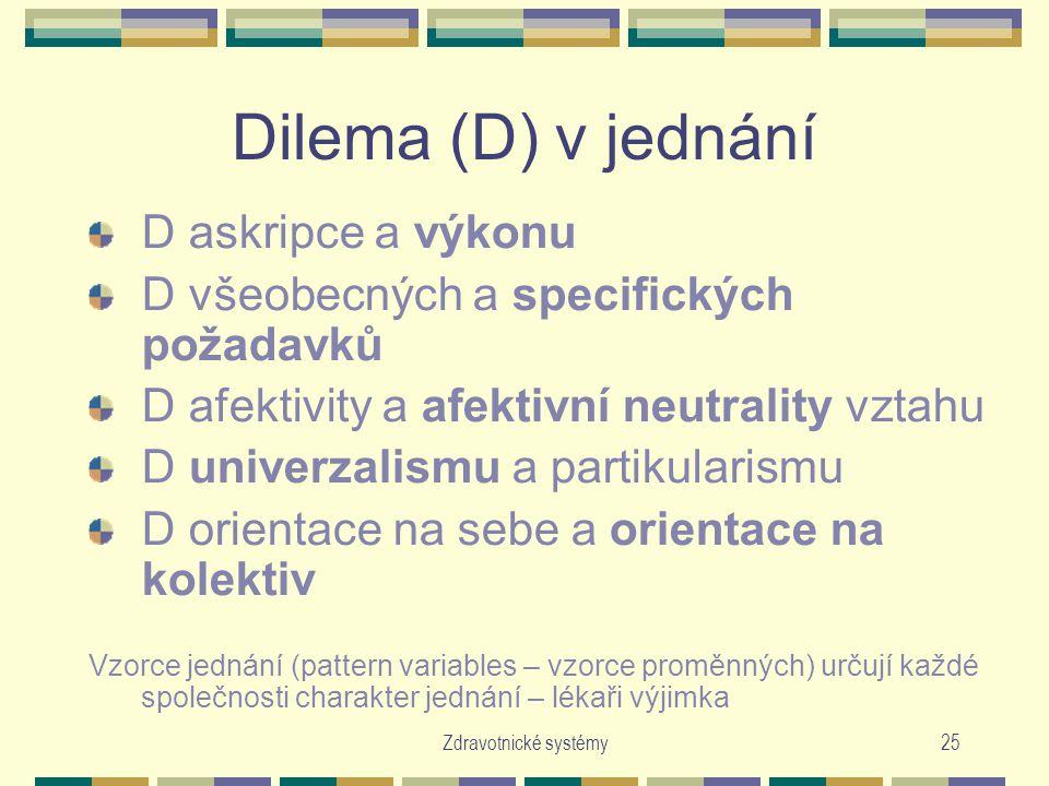 Zdravotnické systémy25 Dilema (D) v jednání D askripce a výkonu D všeobecných a specifických požadavků D afektivity a afektivní neutrality vztahu D univerzalismu a partikularismu D orientace na sebe a orientace na kolektiv Vzorce jednání (pattern variables – vzorce proměnných) určují každé společnosti charakter jednání – lékaři výjimka
