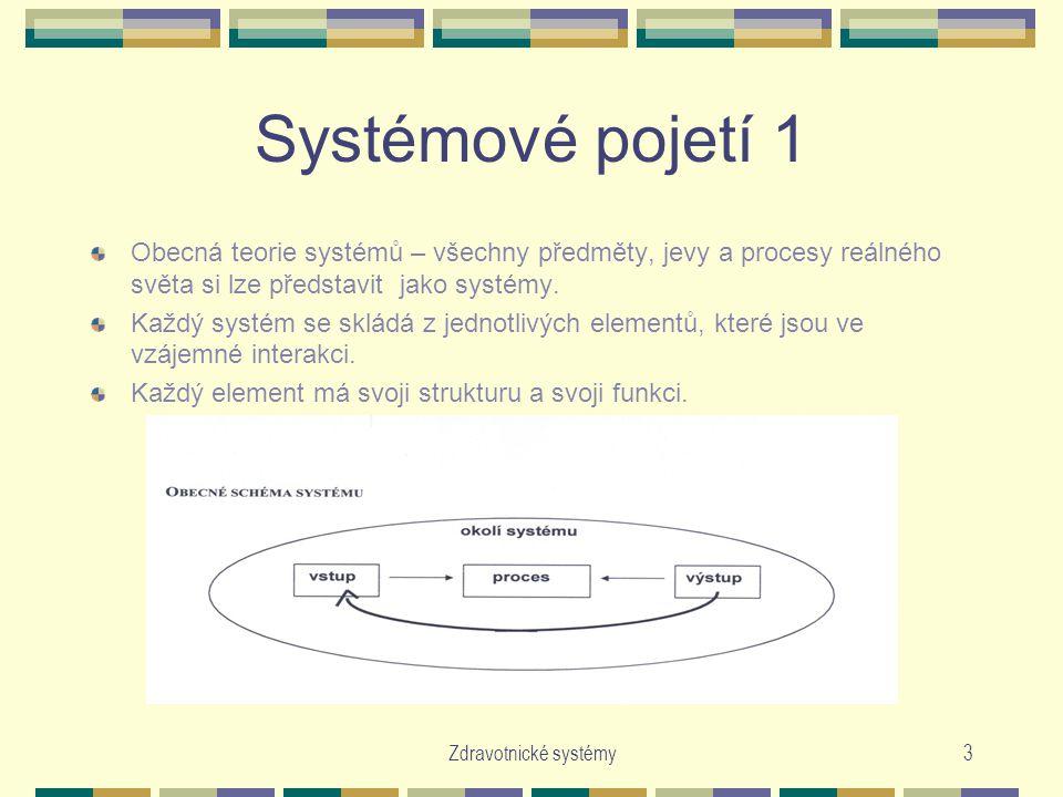 Zdravotnické systémy3 Systémové pojetí 1 Obecná teorie systémů – všechny předměty, jevy a procesy reálného světa si lze představit jako systémy. Každý