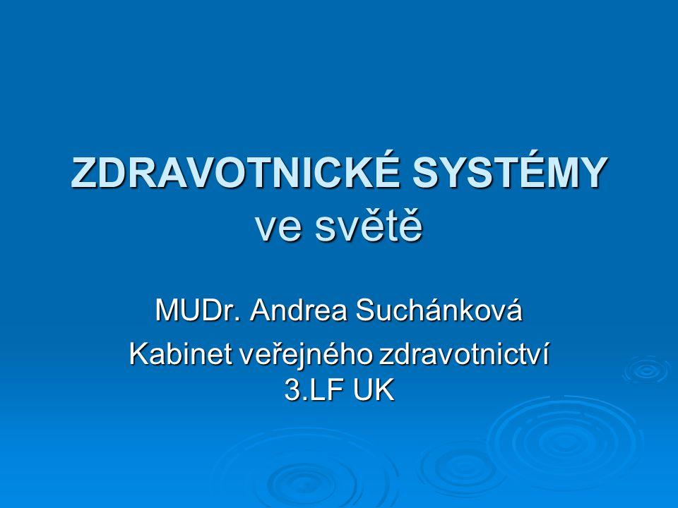ZDRAVOTNICKÉ SYSTÉMY ve světě MUDr. Andrea Suchánková Kabinet veřejného zdravotnictví 3.LF UK