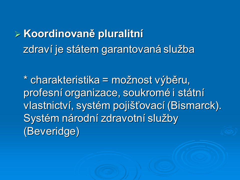  Koordinovaně pluralitní zdraví je státem garantovaná služba zdraví je státem garantovaná služba * charakteristika = možnost výběru, profesní organizace, soukromé i státní vlastnictví, systém pojišťovací (Bismarck).