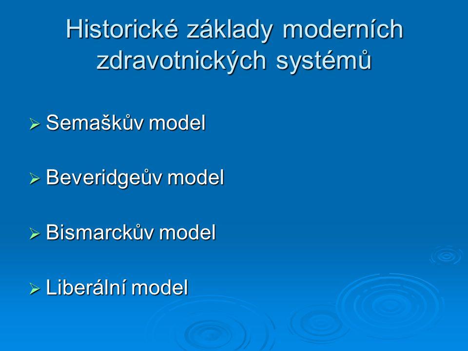 Historické základy moderních zdravotnických systémů  Semaškův model  Beveridgeův model  Bismarckův model  Liberální model