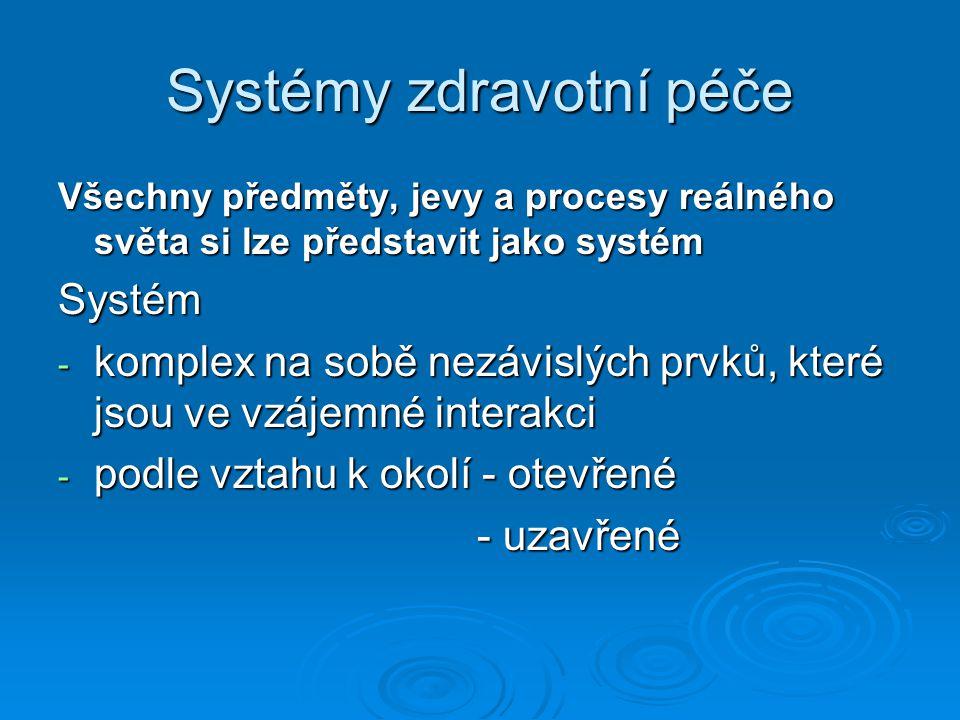 Systémy zdravotní péče Všechny předměty, jevy a procesy reálného světa si lze představit jako systém Systém - komplex na sobě nezávislých prvků, které jsou ve vzájemné interakci - podle vztahu k okolí - otevřené - uzavřené - uzavřené