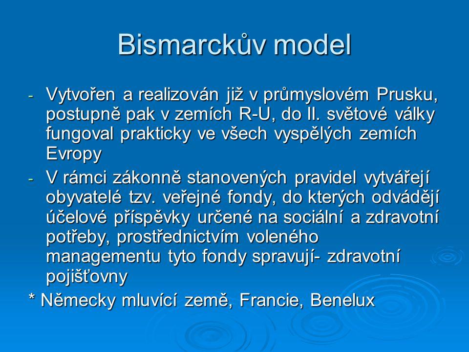 Bismarckův model - Vytvořen a realizován již v průmyslovém Prusku, postupně pak v zemích R-U, do II.