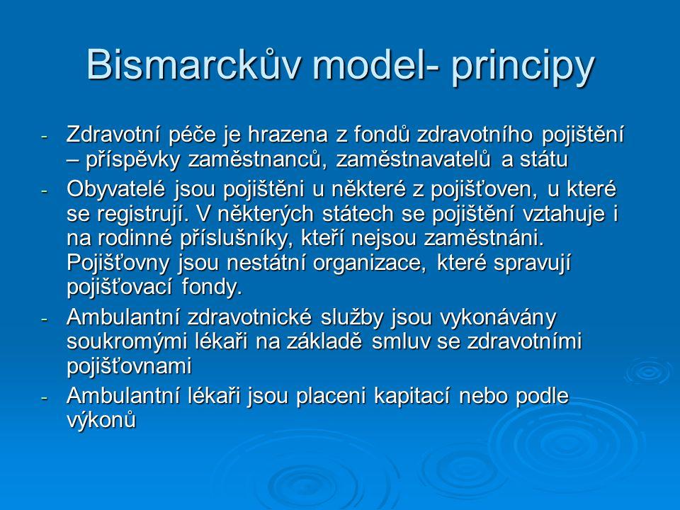 Bismarckův model- principy - Zdravotní péče je hrazena z fondů zdravotního pojištění – příspěvky zaměstnanců, zaměstnavatelů a státu - Obyvatelé jsou pojištěni u některé z pojišťoven, u které se registrují.