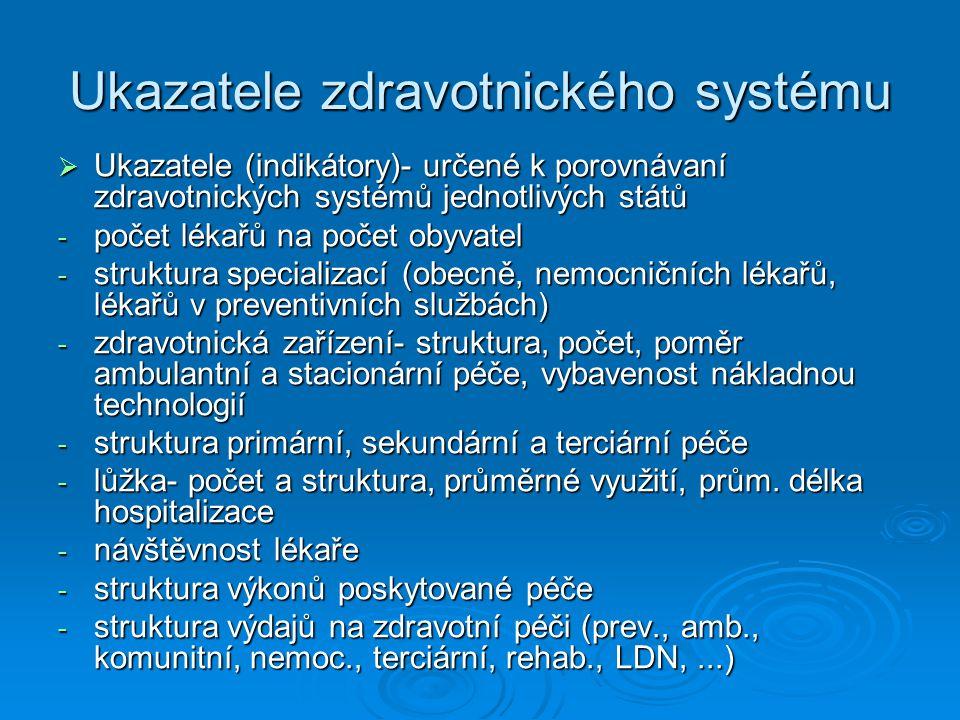 Ukazatele zdravotnického systému  Ukazatele (indikátory)- určené k porovnávaní zdravotnických systémů jednotlivých států - počet lékařů na počet obyvatel - struktura specializací (obecně, nemocničních lékařů, lékařů v preventivních službách) - zdravotnická zařízení- struktura, počet, poměr ambulantní a stacionární péče, vybavenost nákladnou technologií - struktura primární, sekundární a terciární péče - lůžka- počet a struktura, průměrné využití, prům.