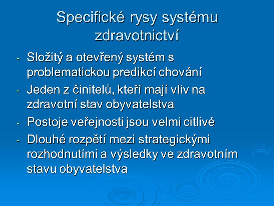 Úkoly zdravotnických systému  strategické cíle státu v oblasti ochrany zdraví a rozvíjení zdraví (zdravotní politika státu)  Způsob zajištění dostupnosti základní zdravotní péče pro občany  Způsob financování zdravotní péče  Řešení vztahů mezi různými účastníky procesu poskytování zdravotní péče ( občany, poskytovatelé péče, správní a samosprávní instituce, plátci)