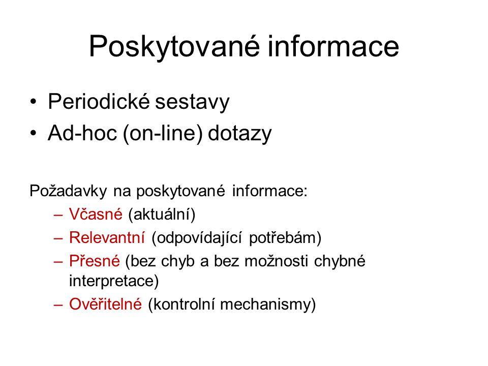 Poskytované informace Periodické sestavy Ad-hoc (on-line) dotazy Požadavky na poskytované informace: –Včasné (aktuální) –Relevantní (odpovídající potř