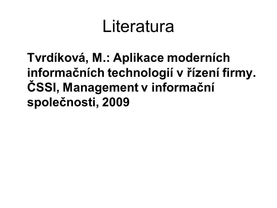 Literatura Tvrdíková, M.: Aplikace moderních informačních technologií v řízení firmy. ČSSI, Management v informační společnosti, 2009
