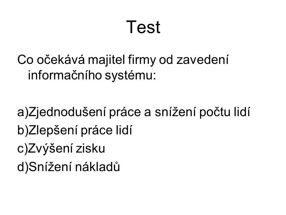 Test Co očekává majitel firmy od zavedení informačního systému: a)Zjednodušení práce a snížení počtu lidí b)Zlepšení práce lidí c)Zvýšení zisku d)Sníž