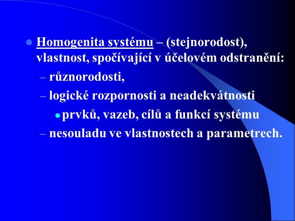 Homogenita systému – (stejnorodost), vlastnost, spočívající v účelovém odstranění: – různorodosti, – logické rozpornosti a neadekvátnosti prvků, vazeb, cílů a funkcí systému – nesouladu ve vlastnostech a parametrech.