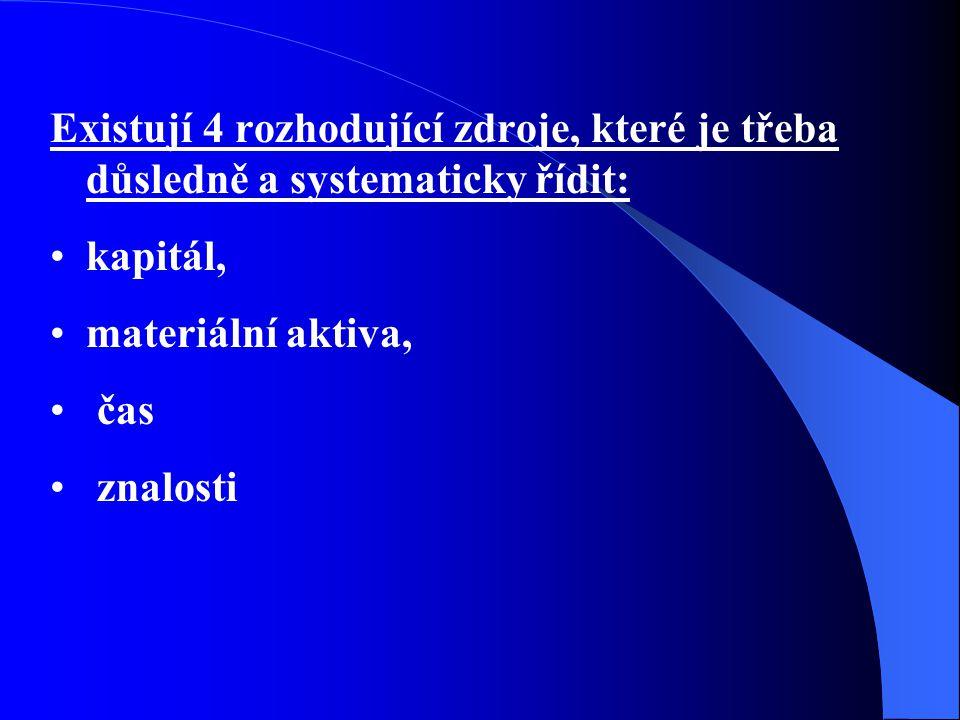 Existují 4 rozhodující zdroje, které je třeba důsledně a systematicky řídit: kapitál, materiální aktiva, čas znalosti