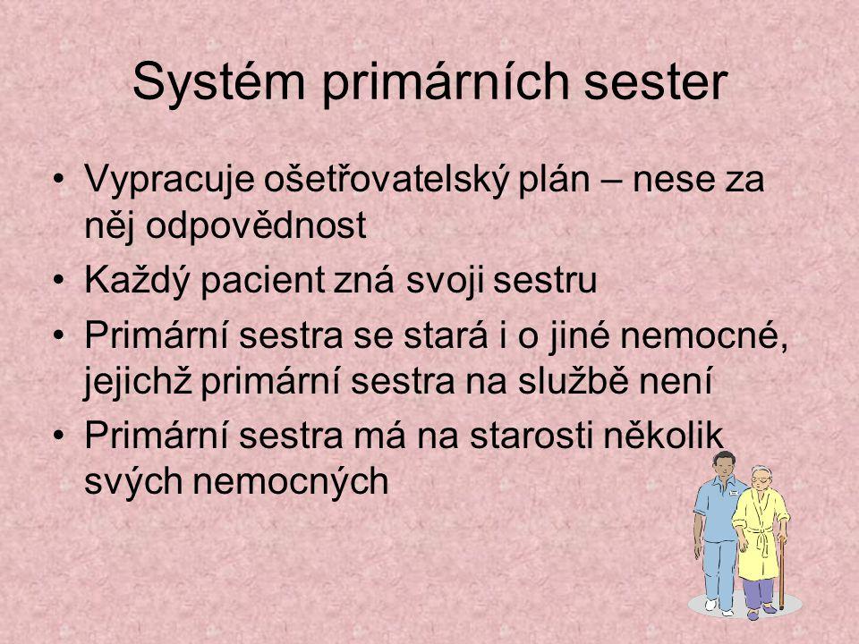 Systém primárních sester Vypracuje ošetřovatelský plán – nese za něj odpovědnost Každý pacient zná svoji sestru Primární sestra se stará i o jiné nemo