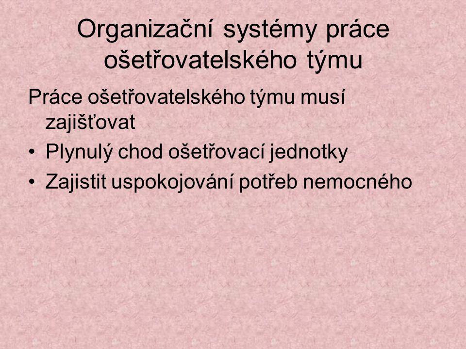 Organizační systémy práce ošetřovatelského týmu Práce ošetřovatelského týmu musí zajišťovat Plynulý chod ošetřovací jednotky Zajistit uspokojování pot