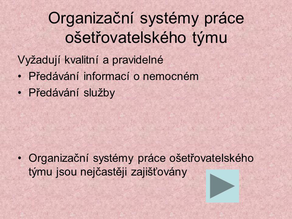 Organizační systémy práce ošetřovatelského týmu Vyžadují kvalitní a pravidelné Předávání informací o nemocném Předávání služby Organizační systémy prá