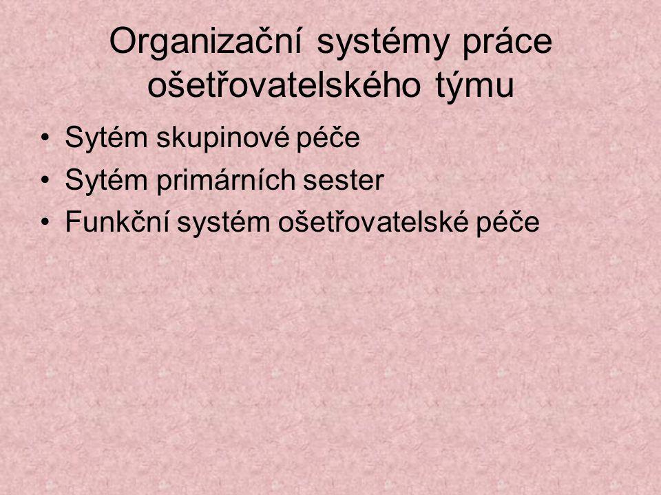 Organizační systémy práce ošetřovatelského týmu Sytém skupinové péče Sytém primárních sester Funkční systém ošetřovatelské péče