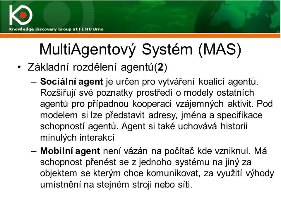 MultiAgentový Systém (MAS) Základní rozdělení agentů(2) –Sociální agent je určen pro vytváření koalicí agentů. Rozšiřují své poznatky prostředí o mode
