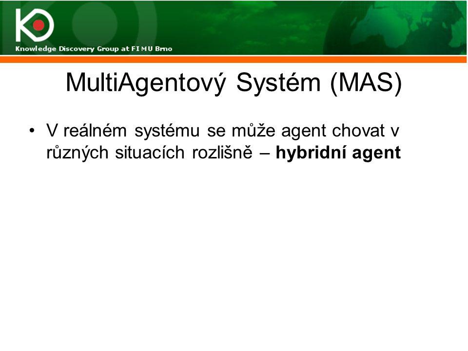 MultiAgentový Systém (MAS) V reálném systému se může agent chovat v různých situacích rozlišně – hybridní agent