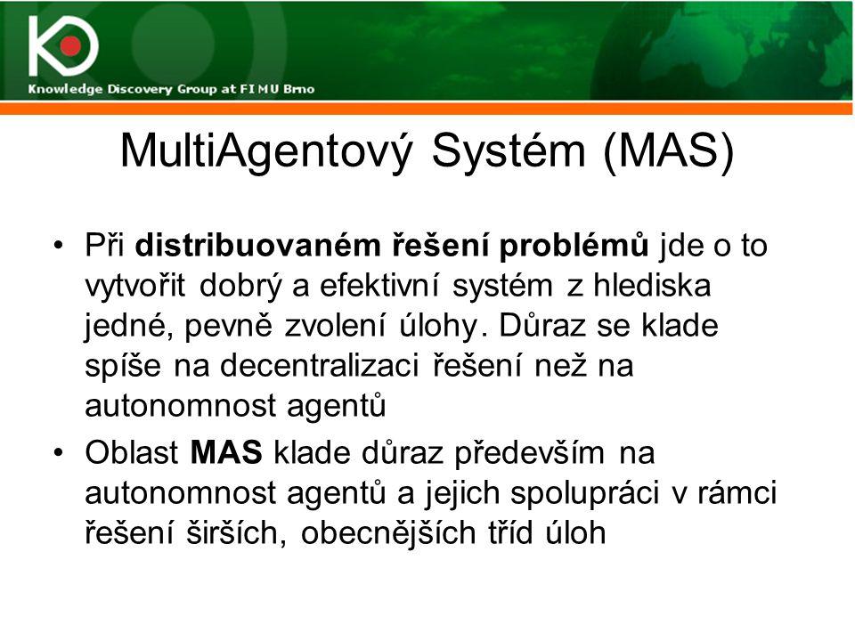 MultiAgentový Systém (MAS) Při distribuovaném řešení problémů jde o to vytvořit dobrý a efektivní systém z hlediska jedné, pevně zvolení úlohy. Důraz