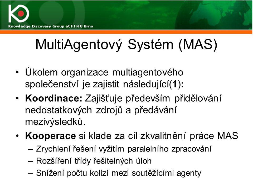 MultiAgentový Systém (MAS) Úkolem organizace multiagentového společenství je zajistit následující(1): Koordinace: Zajišťuje především přidělování nedo