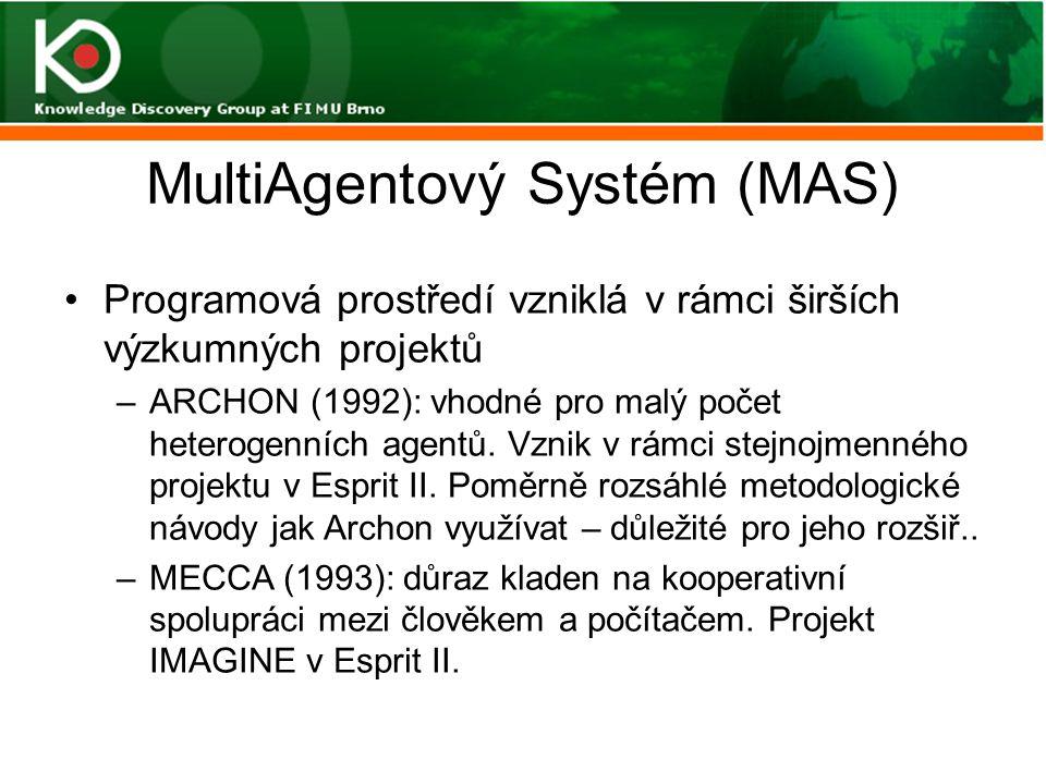 MultiAgentový Systém (MAS) Programová prostředí vzniklá v rámci širších výzkumných projektů –ARCHON (1992): vhodné pro malý počet heterogenních agentů