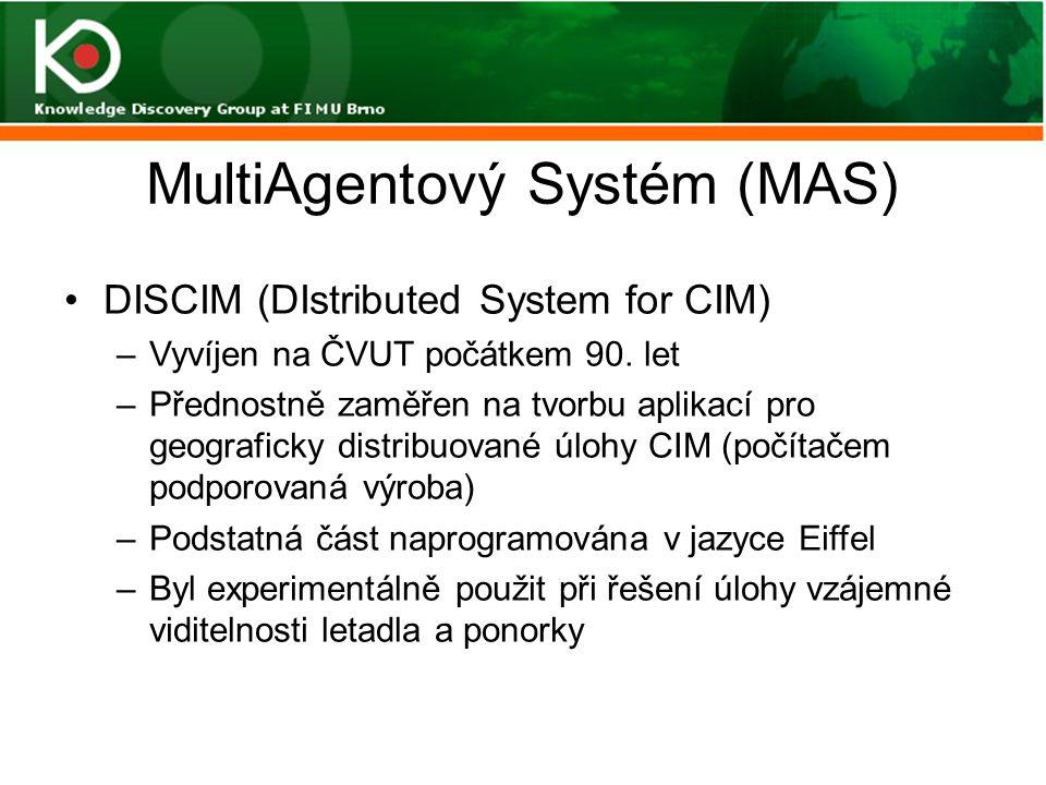 MultiAgentový Systém (MAS) DISCIM (DIstributed System for CIM) –Vyvíjen na ČVUT počátkem 90. let –Přednostně zaměřen na tvorbu aplikací pro geografick
