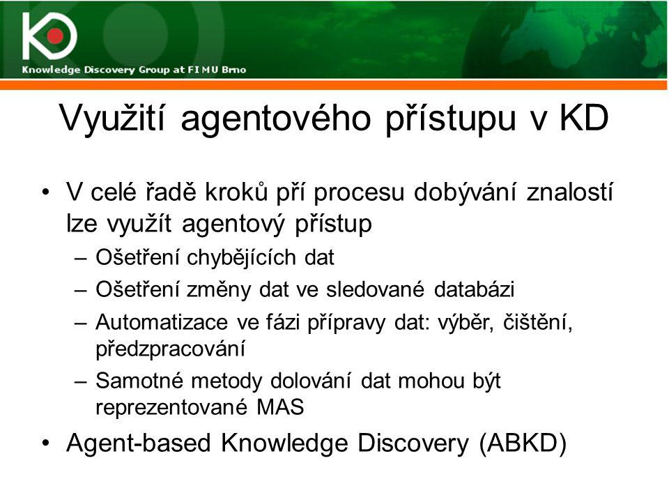 Využití agentového přístupu v KD V celé řadě kroků pří procesu dobývání znalostí lze využít agentový přístup –Ošetření chybějících dat –Ošetření změny