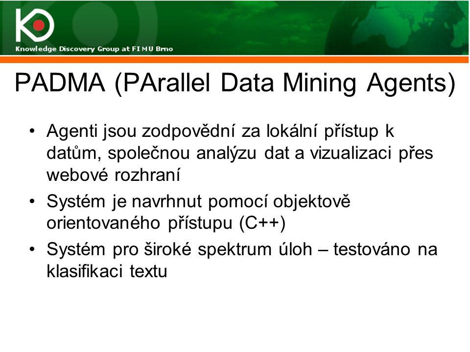 PADMA (PArallel Data Mining Agents) Agenti jsou zodpovědní za lokální přístup k datům, společnou analýzu dat a vizualizaci přes webové rozhraní Systém