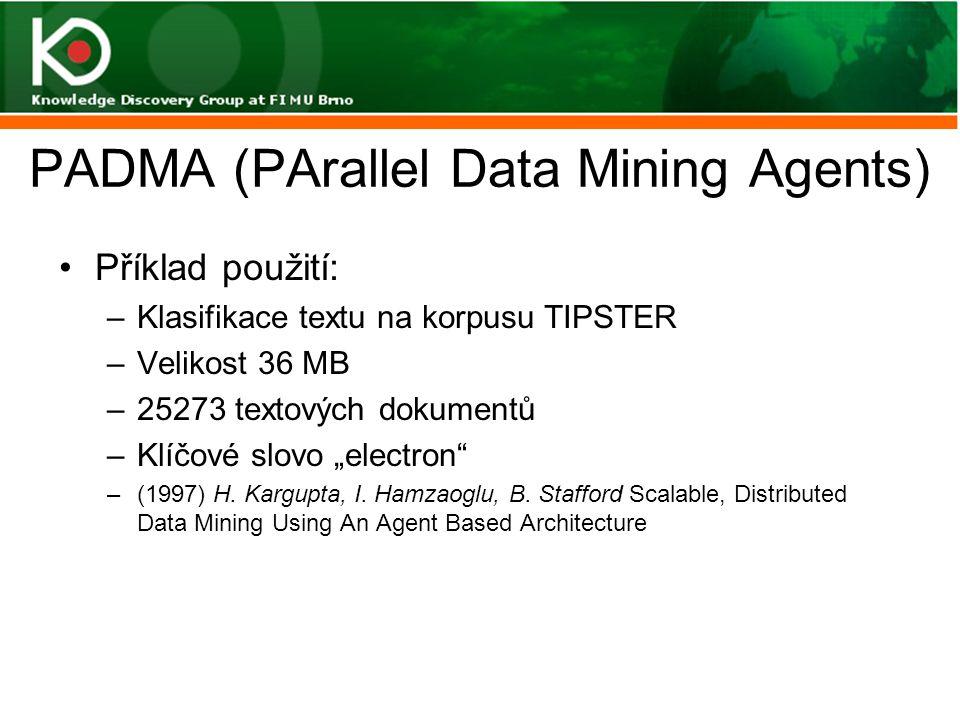 """PADMA (PArallel Data Mining Agents) Příklad použití: –Klasifikace textu na korpusu TIPSTER –Velikost 36 MB –25273 textových dokumentů –Klíčové slovo """""""