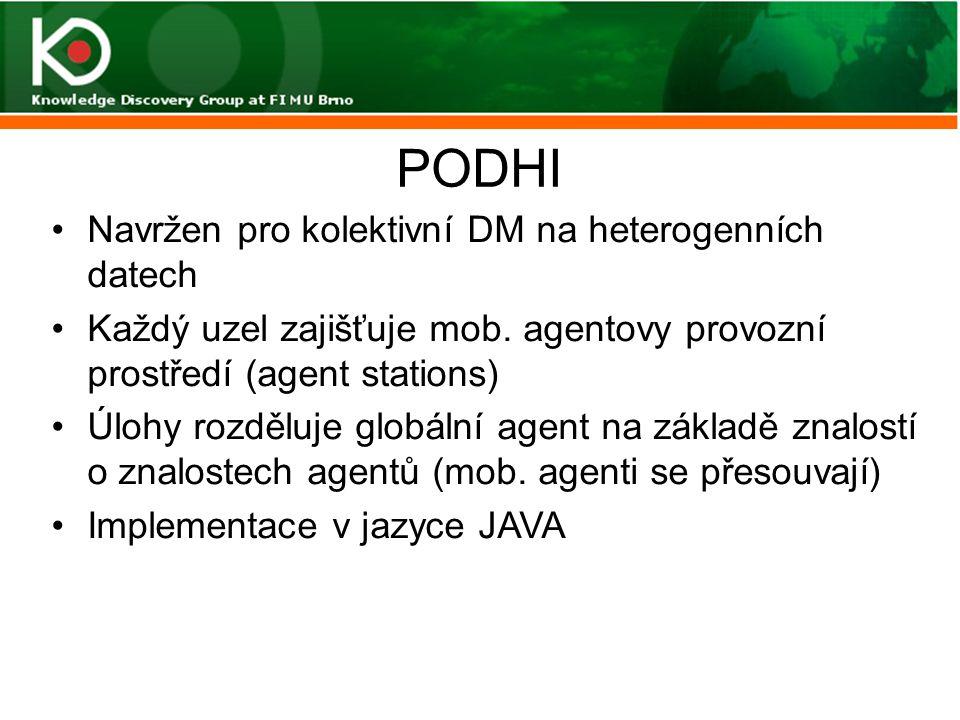 PODHI Navržen pro kolektivní DM na heterogenních datech Každý uzel zajišťuje mob. agentovy provozní prostředí (agent stations) Úlohy rozděluje globáln