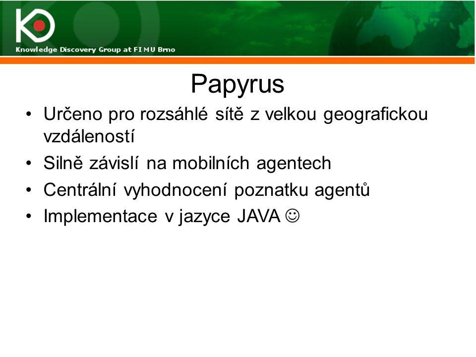 Papyrus Určeno pro rozsáhlé sítě z velkou geografickou vzdáleností Silně závislí na mobilních agentech Centrální vyhodnocení poznatku agentů Implement