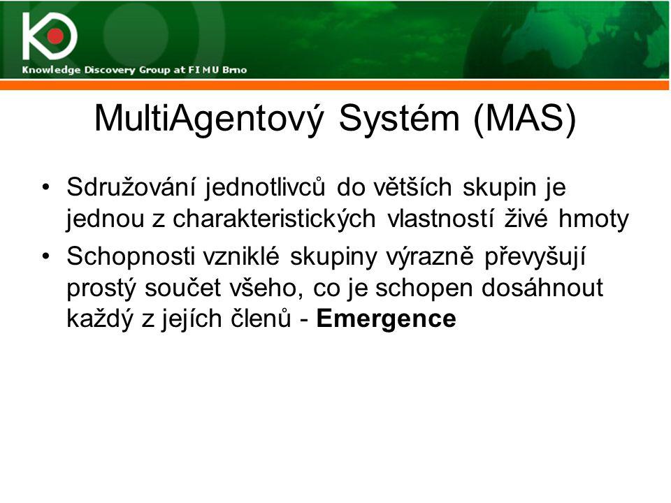 MultiAgentový Systém (MAS) Úkolem organizace multiagentového společenství je zajistit následující(2): Komunikace je nutnou podmínkou pro kooperaci a koordinace –Přímá: adresné, všesměrové a selektivní zasílání zpráv –Nepřímá: tabule –Pokusy o definování obecného jazyka pro komunikaci mezi agenty (ACL)