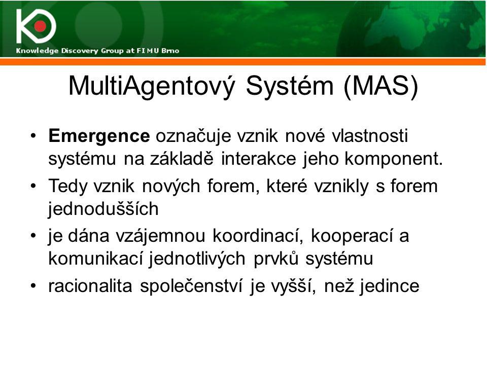 MultiAgentový Systém (MAS) Emergence označuje vznik nové vlastnosti systému na základě interakce jeho komponent. Tedy vznik nových forem, které vznikl