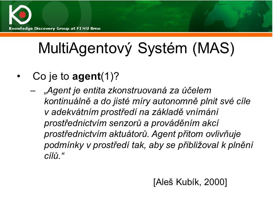 """MultiAgentový Systém (MAS) Co je to agent(1)? –""""Agent je entita zkonstruovaná za účelem kontinuálně a do jisté míry autonomně plnit své cíle v adekvát"""