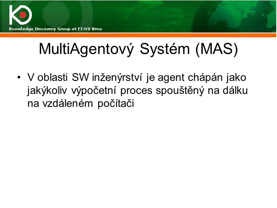 MultiAgentový Systém (MAS) V oblasti SW inženýrství je agent chápán jako jakýkoliv výpočetní proces spouštěný na dálku na vzdáleném počítači