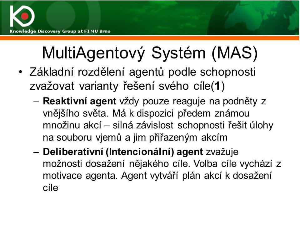 MultiAgentový Systém (MAS) Základní rozdělení agentů podle schopnosti zvažovat varianty řešení svého cíle(1) –Reaktivní agent vždy pouze reaguje na po