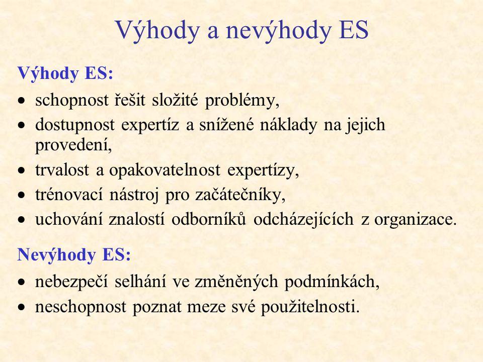 Výhody a nevýhody ES Výhody ES:  schopnost řešit složité problémy,  dostupnost expertíz a snížené náklady na jejich provedení,  trvalost a opakovat