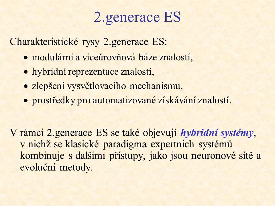 2.generace ES Charakteristické rysy 2.generace ES:  modulární a víceúrovňová báze znalostí,  hybridní reprezentace znalostí,  zlepšení vysvětlovací