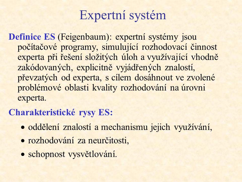 Expertní systém Definice ES (Feigenbaum): expertní systémy jsou počítačové programy, simulující rozhodovací činnost experta při řešení složitých úloh