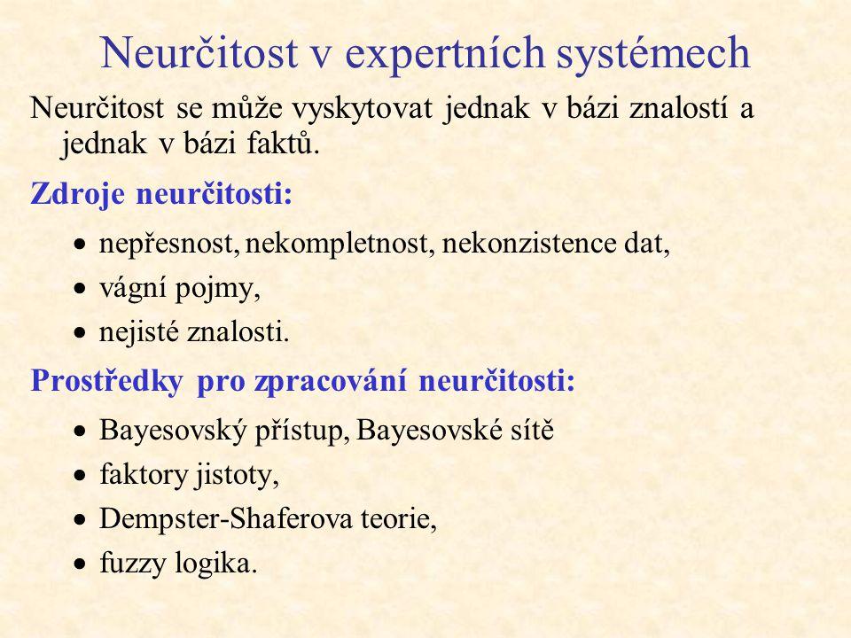 Neurčitost v expertních systémech Neurčitost se může vyskytovat jednak v bázi znalostí a jednak v bázi faktů. Zdroje neurčitosti:  nepřesnost, nekomp