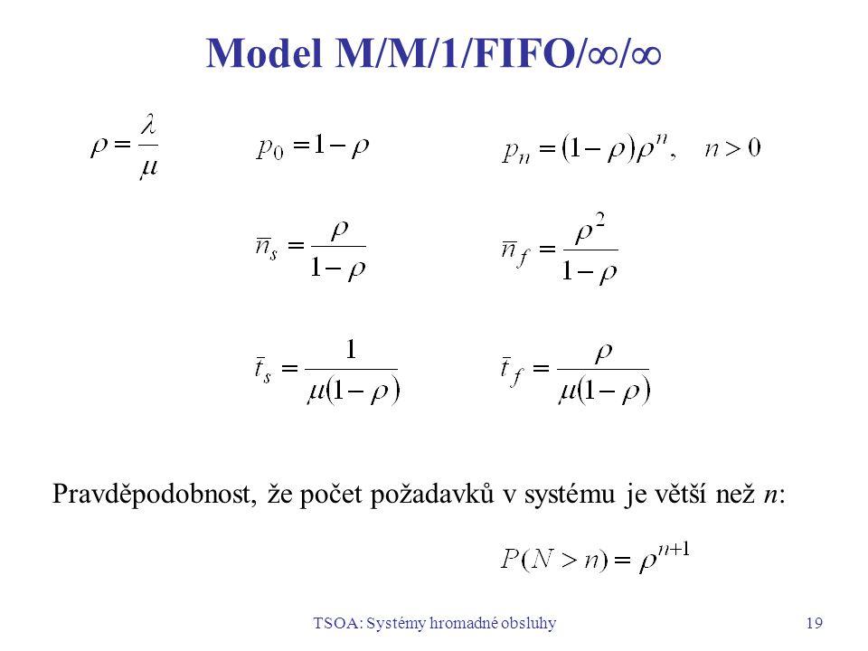 TSOA: Systémy hromadné obsluhy19 Model M/M/1/FIFO/  /  Pravděpodobnost, že počet požadavků v systému je větší než n: