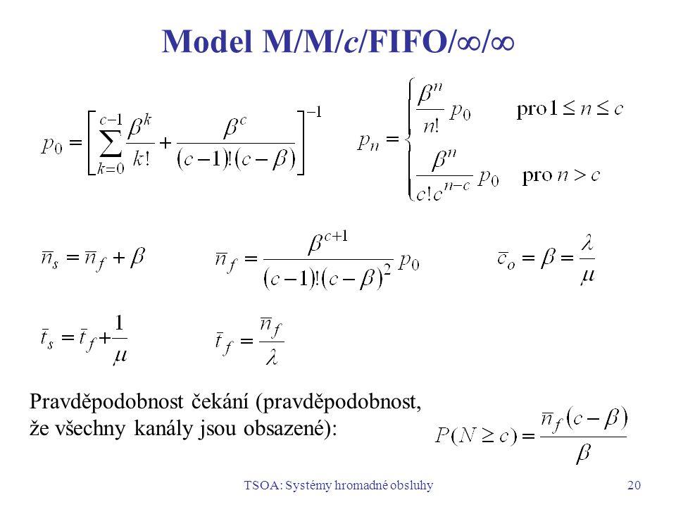 TSOA: Systémy hromadné obsluhy20 Model M/M/c/FIFO/  /  Pravděpodobnost čekání (pravděpodobnost, že všechny kanály jsou obsazené):