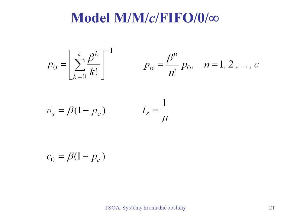 TSOA: Systémy hromadné obsluhy21 Model M/M/c/FIFO/0/ 