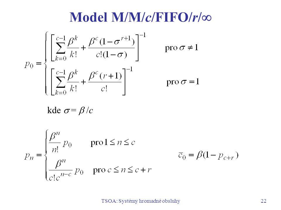 TSOA: Systémy hromadné obsluhy22 Model M/M/c/FIFO/r/  kde  =  /c