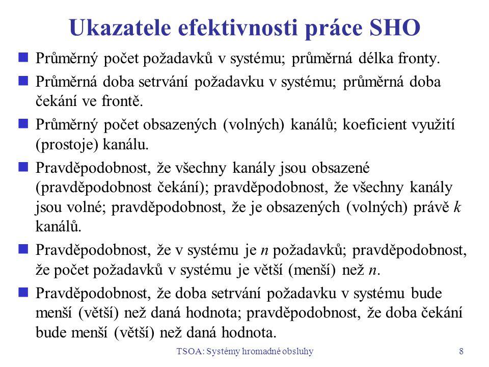 TSOA: Systémy hromadné obsluhy8 Ukazatele efektivnosti práce SHO Průměrný počet požadavků v systému; průměrná délka fronty. Průměrná doba setrvání pož