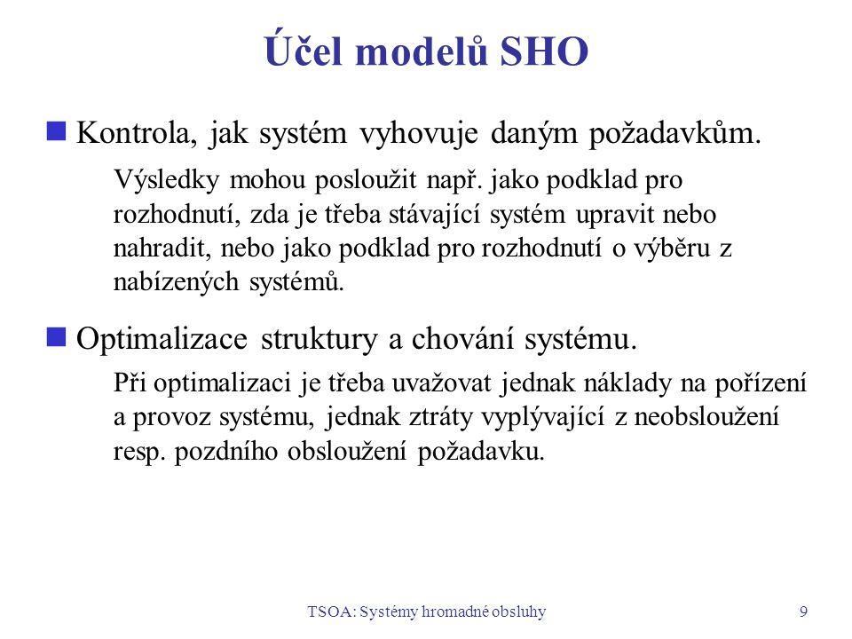 TSOA: Systémy hromadné obsluhy9 Účel modelů SHO Kontrola, jak systém vyhovuje daným požadavkům. Výsledky mohou posloužit např. jako podklad pro rozhod