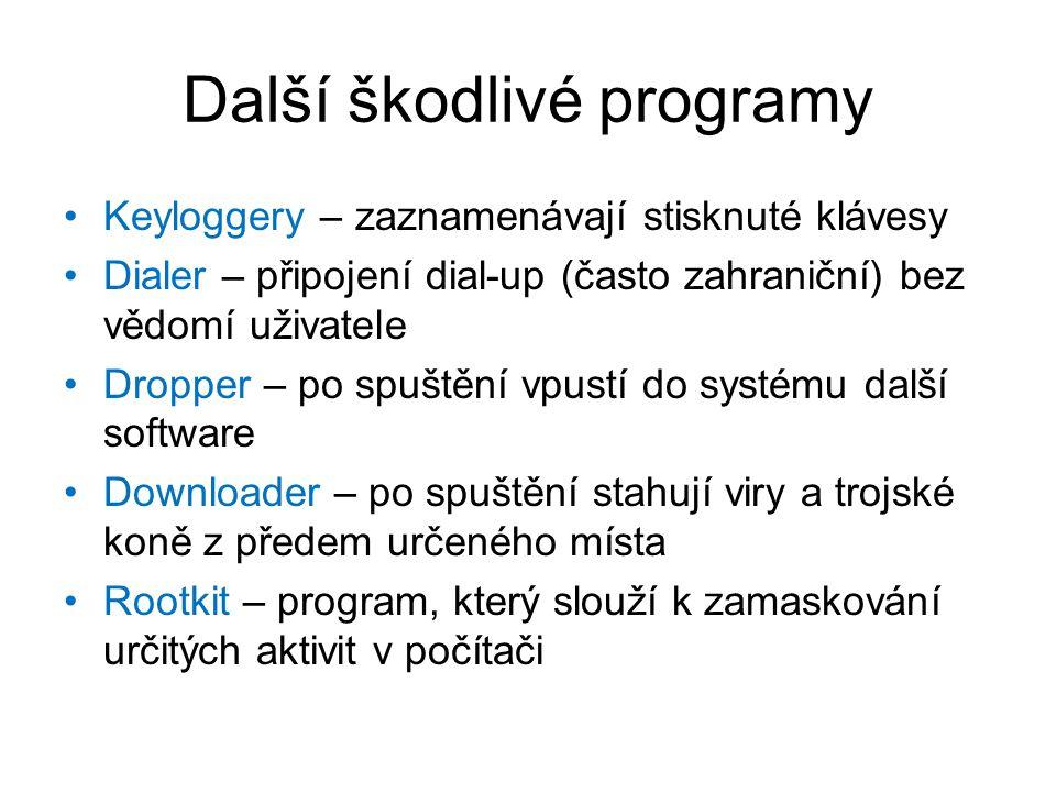 Další škodlivé programy Keyloggery – zaznamenávají stisknuté klávesy Dialer – připojení dial-up (často zahraniční) bez vědomí uživatele Dropper – po spuštění vpustí do systému další software Downloader – po spuštění stahují viry a trojské koně z předem určeného místa Rootkit – program, který slouží k zamaskování určitých aktivit v počítači